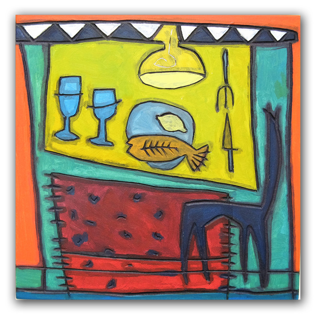 Déjeuner, paneel, 30x30 cm, 2007. Diana van Hal.