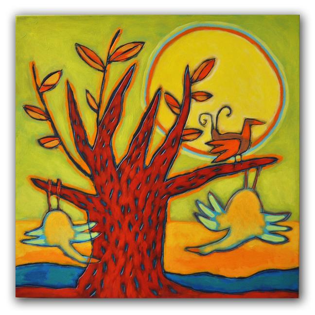 Playing birds, paneel 40x40 cm, 2011. Diana van Hal.