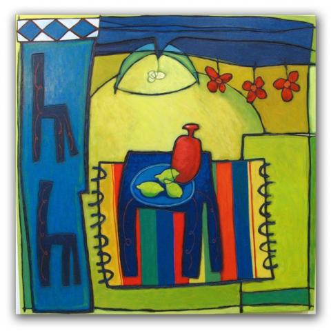 Interior, paneel 100x100 cm, 2010. Diana van Hal.