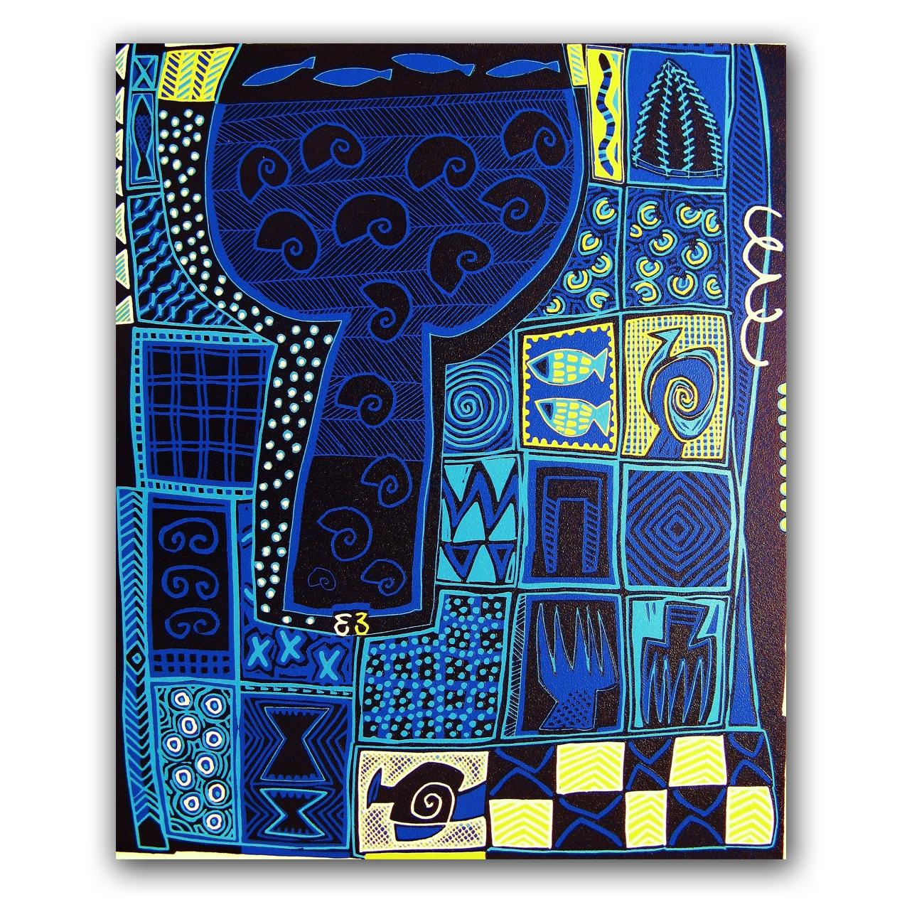 Blue Print 2, lino 50x60 cm, 2001. Diana van Hal.