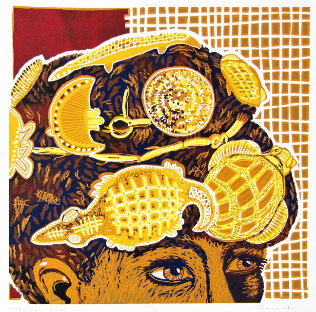Afrika adorned, lino 44 x 44 cm, 2016. Diana van Hal
