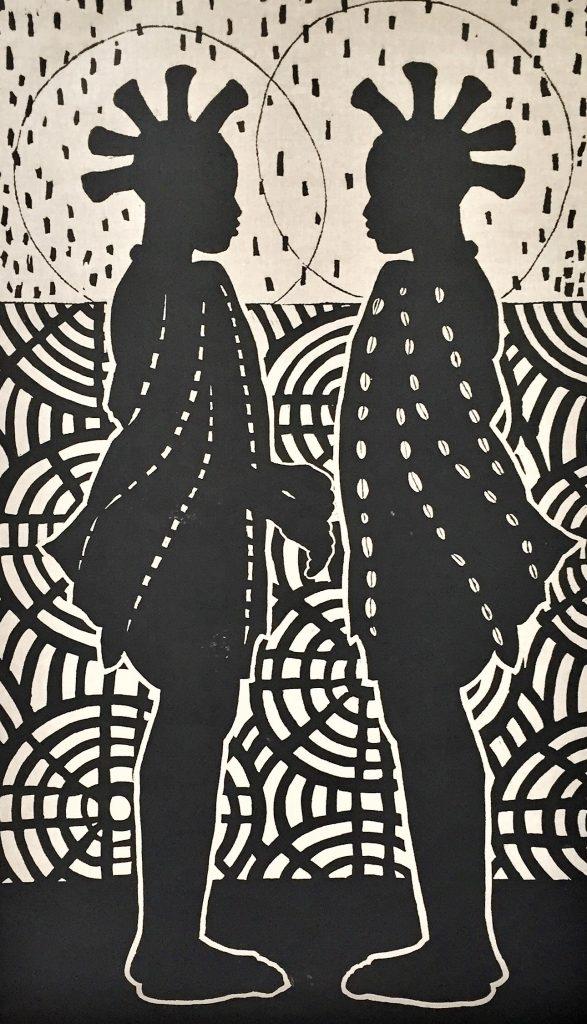 HERMANOS, lino, 100x170cm. Lino op linnen, Winnaar 2017 Kunst.nl grafiekprijs, Diana van Hal